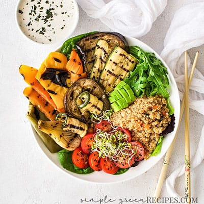 Roasted Vegetable Quinoa Bowl with Lemon Tahini Dressing