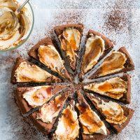 Vegan Flourless Chocolate Cake with Whipped Cream and Caramel
