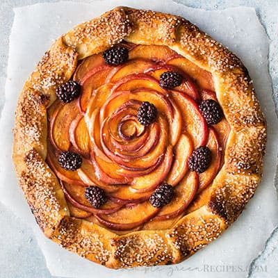 Peach Galette with a gluten free crust and sliced peaches