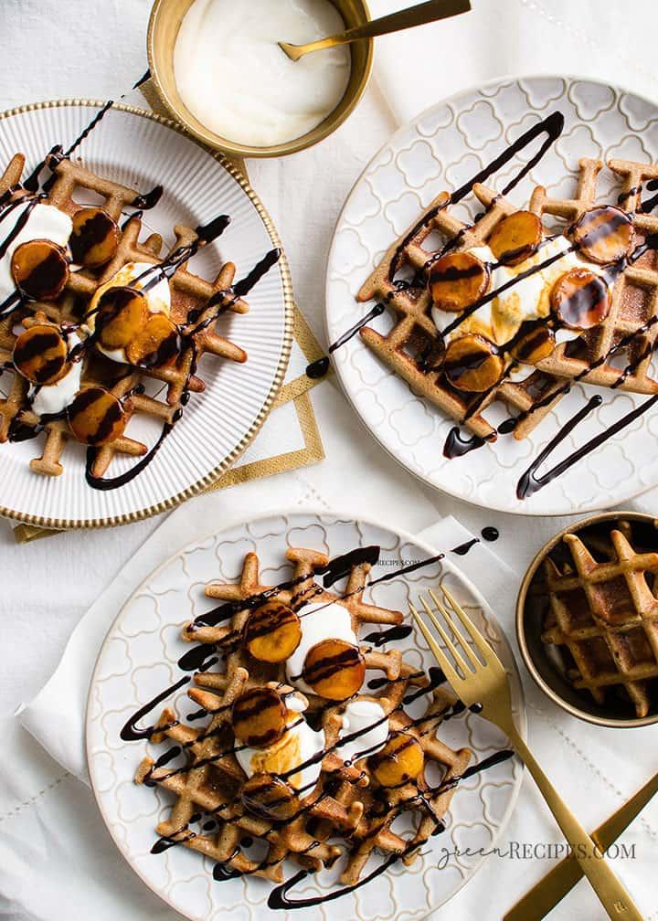 Vegan Waffles with Coconut yogurt and banana