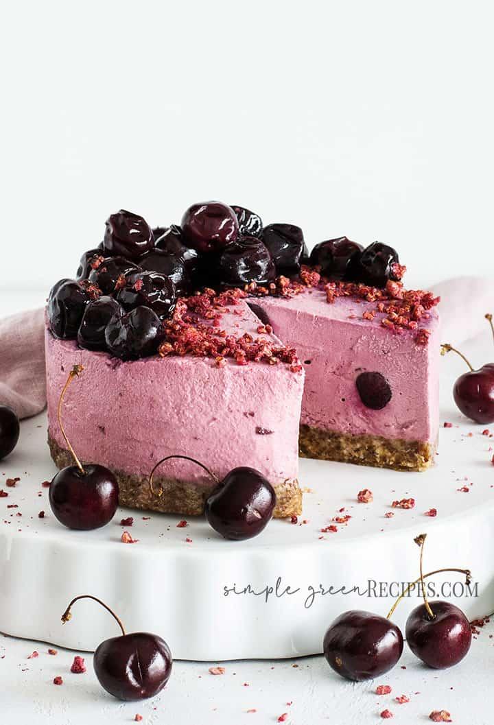 Easy Vegan Cherry Frozen Tart