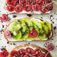 Cherry & Kiwi Toasts with Vegan Cream Cheese