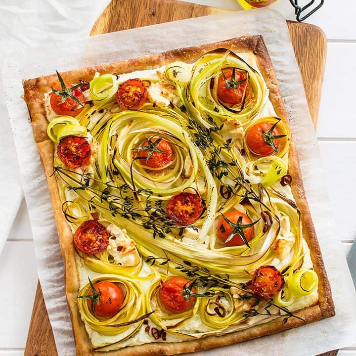 Roasted Tomato Leek Tart
