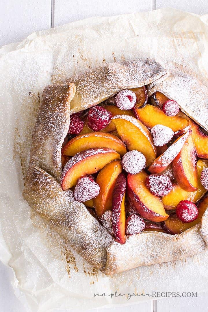 Vegan Peach Raspberry Galette