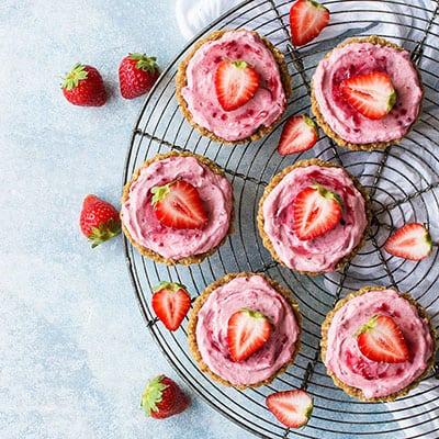 Vegan Strawberry Mousse Tartlets-SM