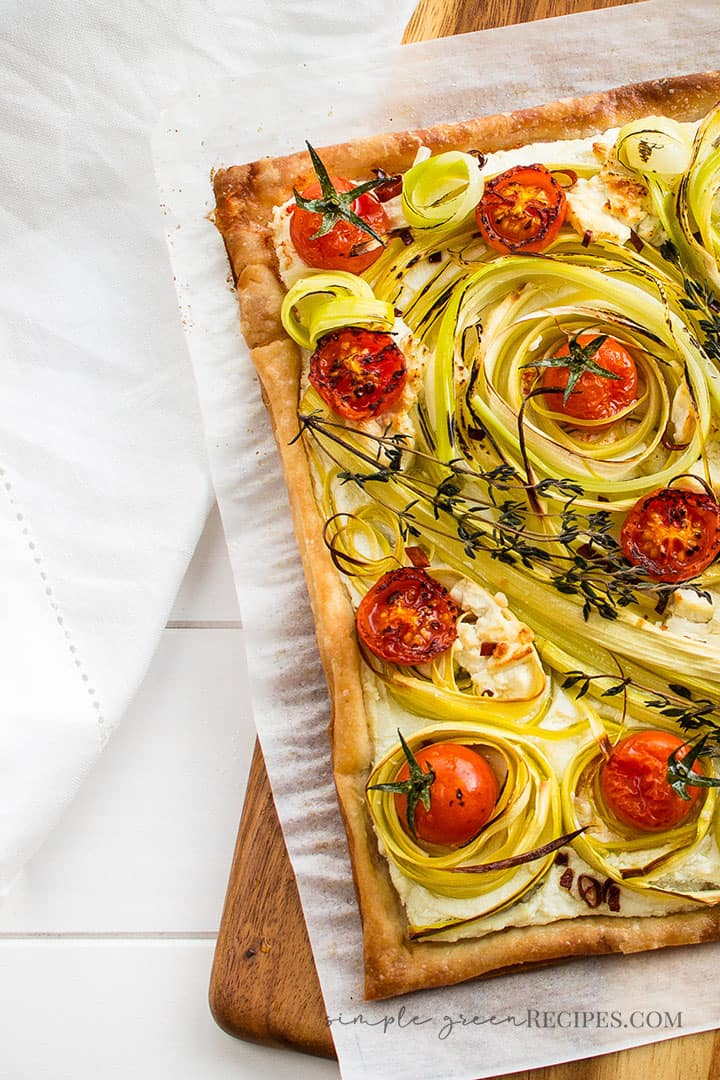 Vegan Tomato Leek Tart Puff pastry