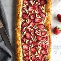 Vegan Strawberry Cream Puff Pastry Tart