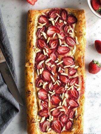 Delicious Vegan Strawberry Cream Puff Pastry Tart