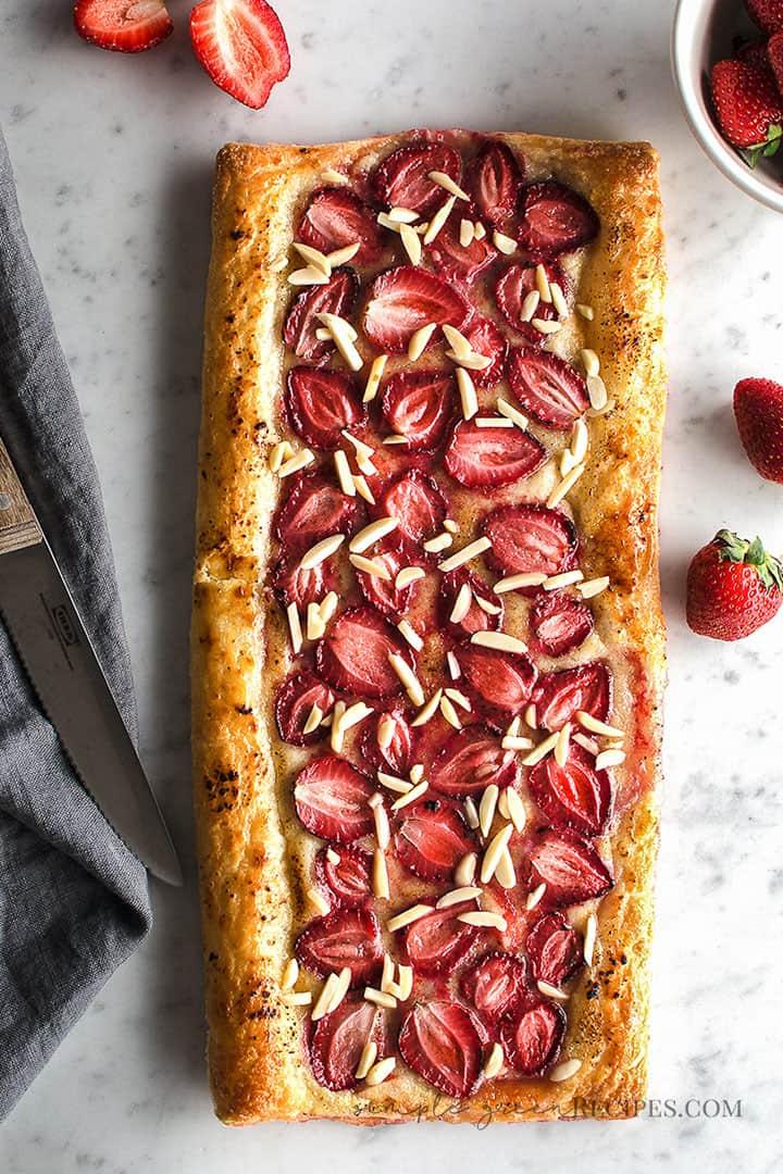 Delicious Vegan Strawberry Cream Puff Pastry Tart