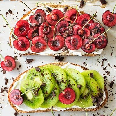 Fancy Cherry & Kiwi Toasts with Vegan Cream Cheese