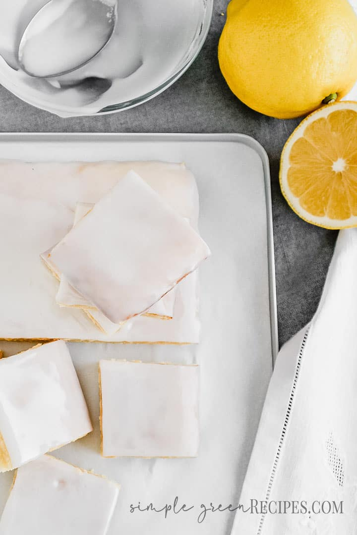 overhead shot of the Vegan Gluten Free Lemon Cake with Lemon Icing