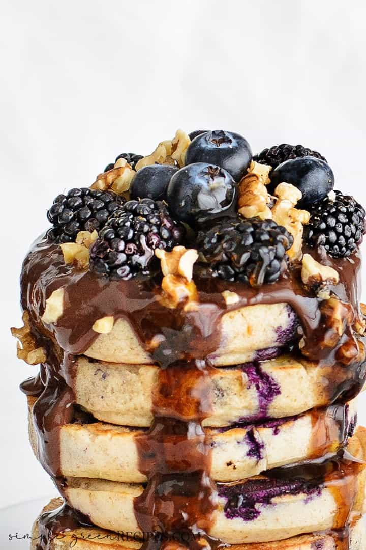 Vegan Gluten-free Blueberry Oat Pancakes