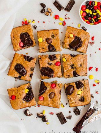 Vegan Gluten-free Halloween Candy Cookie Bars