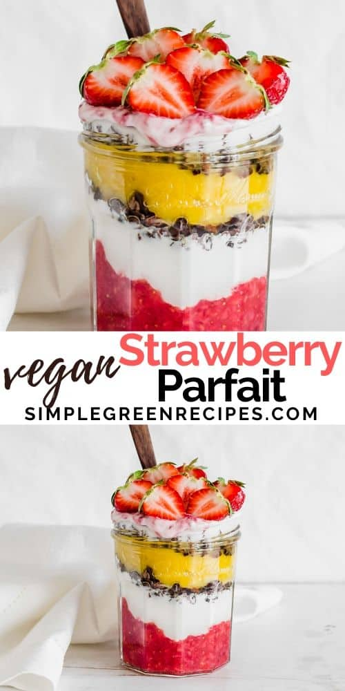 Gluten free Strawberry Parfait on a jar and topped with strawberries.