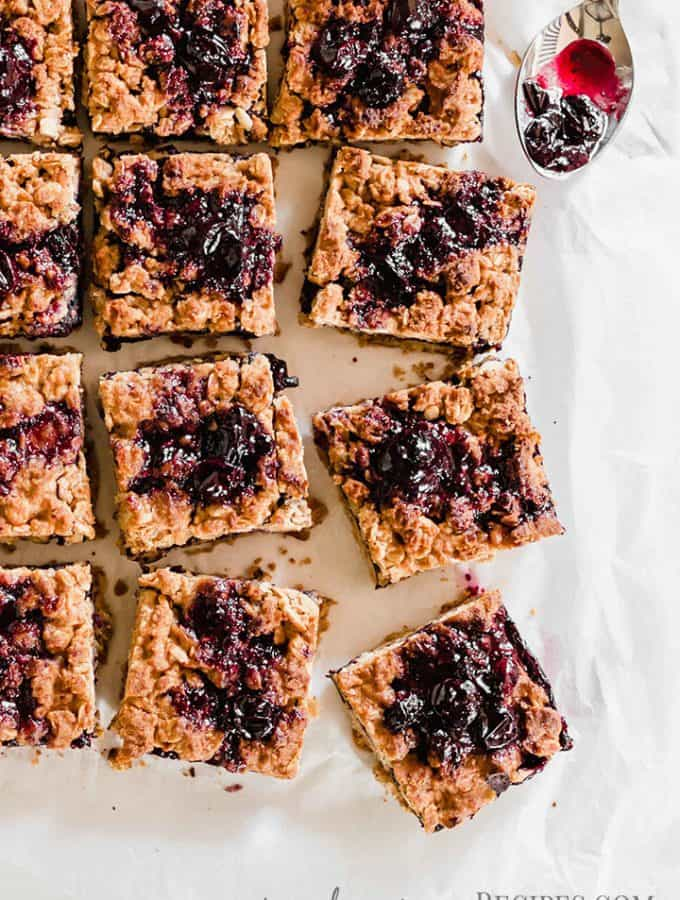 Close up of the Vegan Blueberry Oatmeal Bars sliced into 16 bars.
