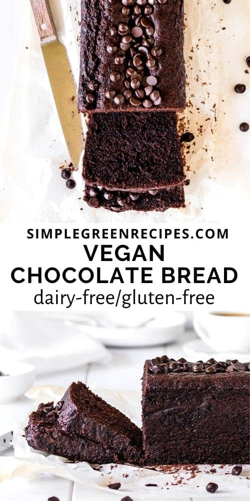 High angle and eye-level shot of the Vegan Chocolate Bread cut in some slices.