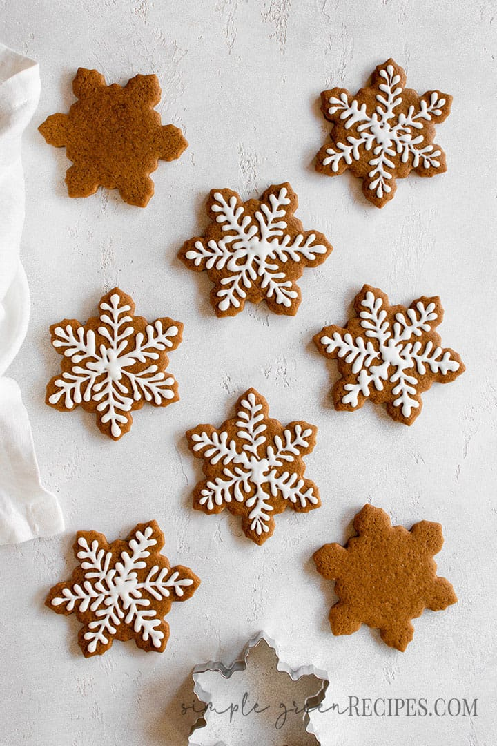 Over head shot of the star cookies and the cookie cutter, on a white surface