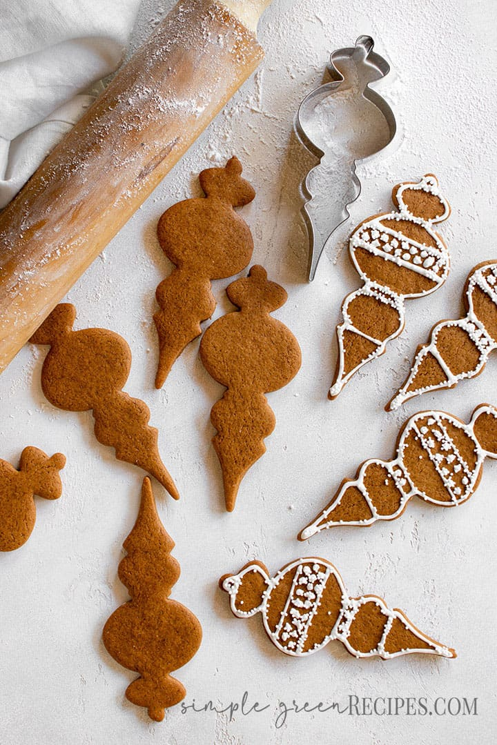 Over head shot of the christmas bubble cookies, a rolling pin and the cookie cutter.