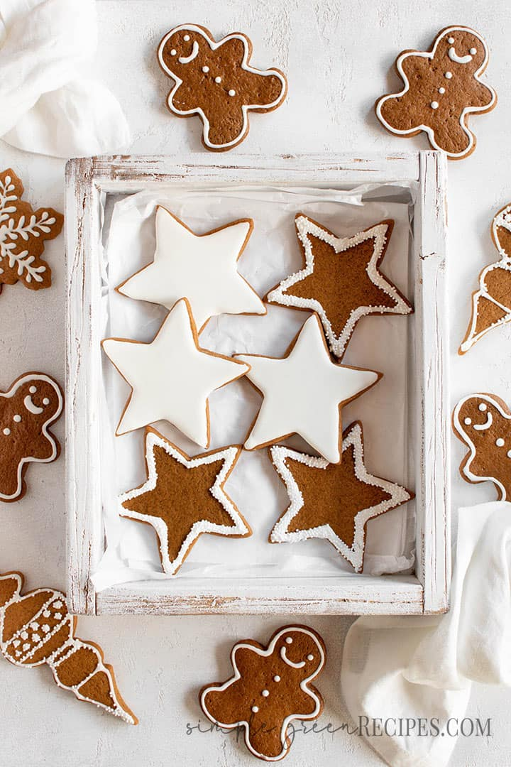 Over head shot of the star cookies decorated with white royal icing.