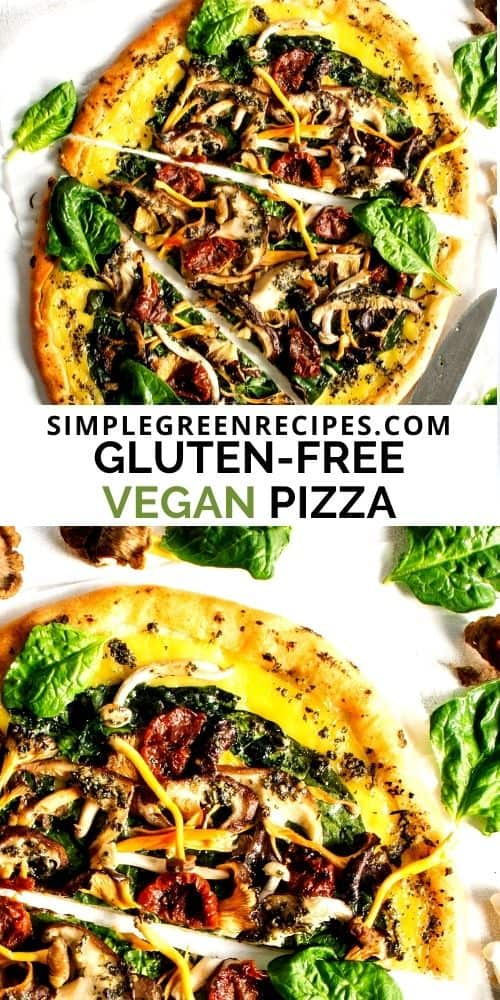 Sliced pizza on a parchment paper, topped with spinach, mushrooms and sun-dried tomatoes.
