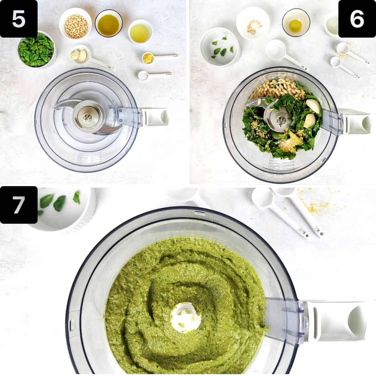 Step-by-step directions to make the pesto sauce.