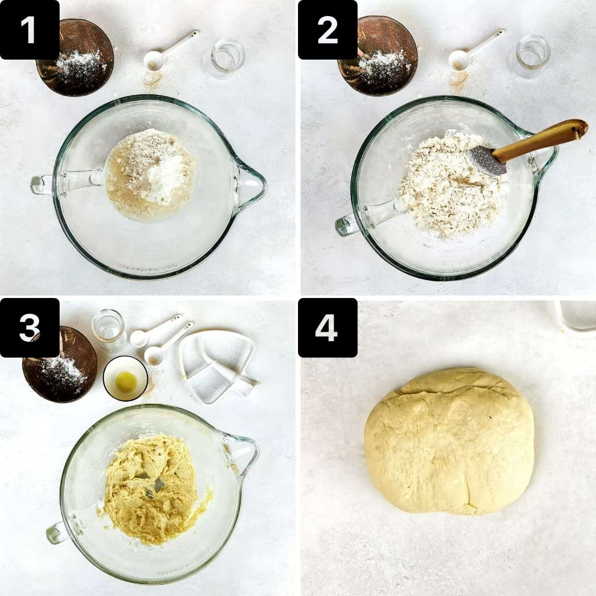 Step-by-step directions to make the pizza dough.