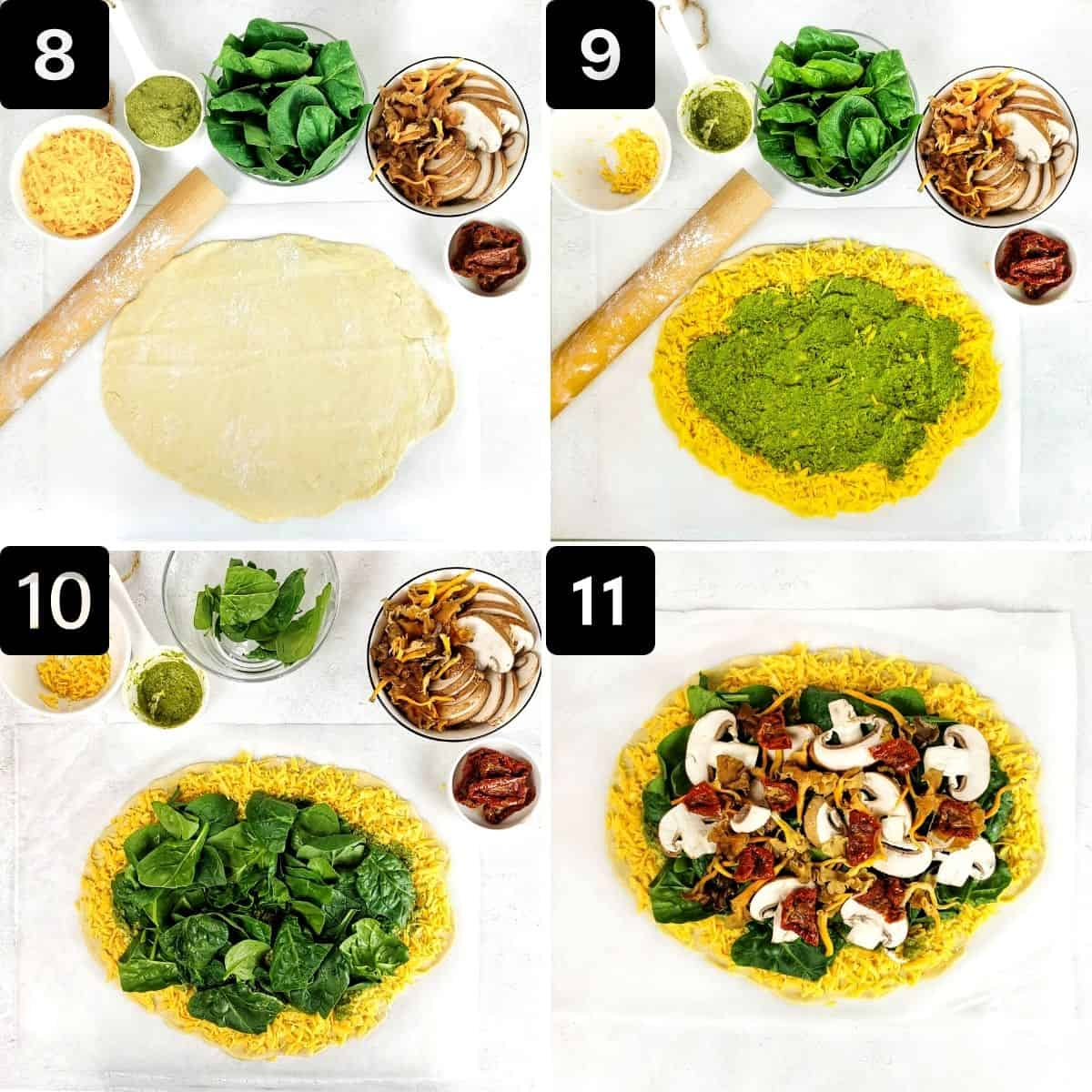 Step-by-step directions to top the crust with the toppings.