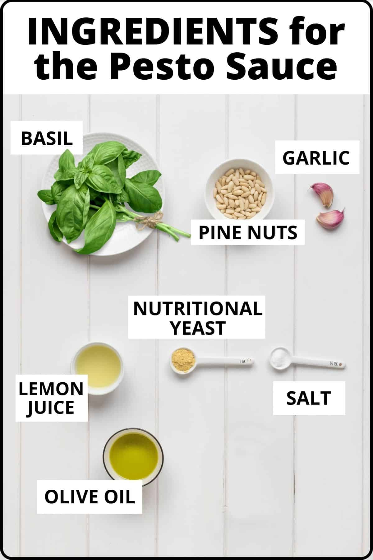 Ingredients to make the Vegan Pesto Sauce. Just a few basic ingredients and ready in 5 minutes!