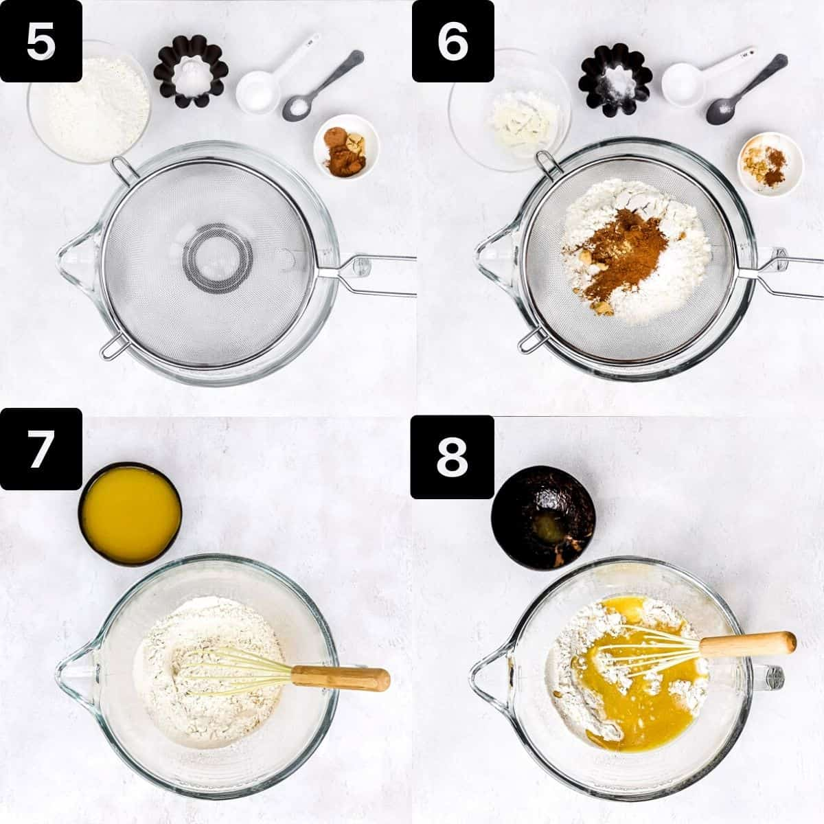 Step-by-step directions to mix the dry ingredients to make the carrot cake
