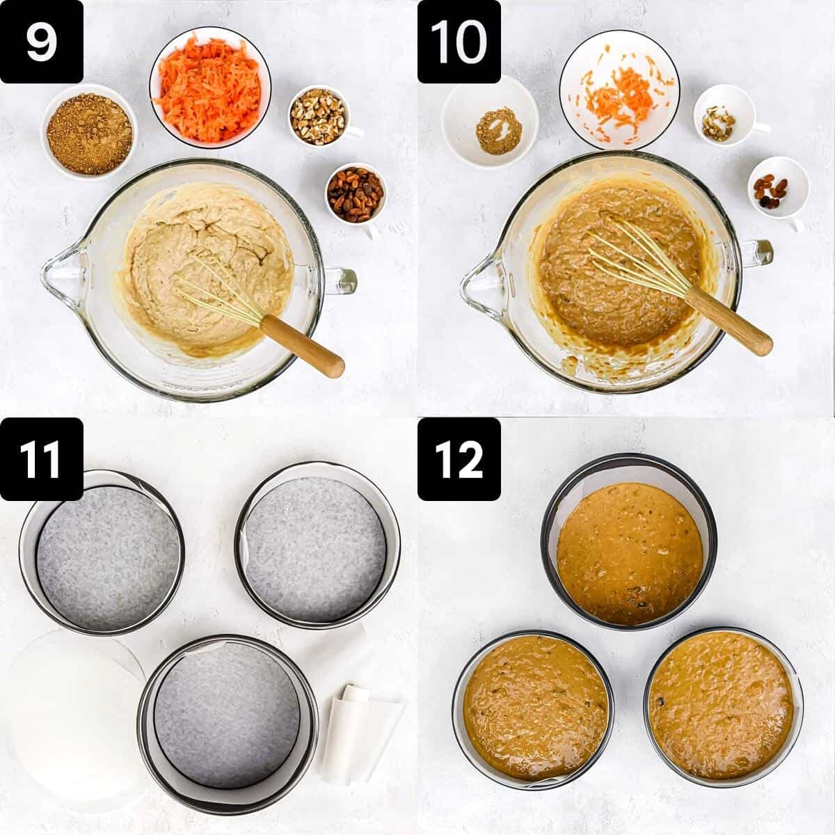 Step-by-step directions to make the batter for the carrot cake