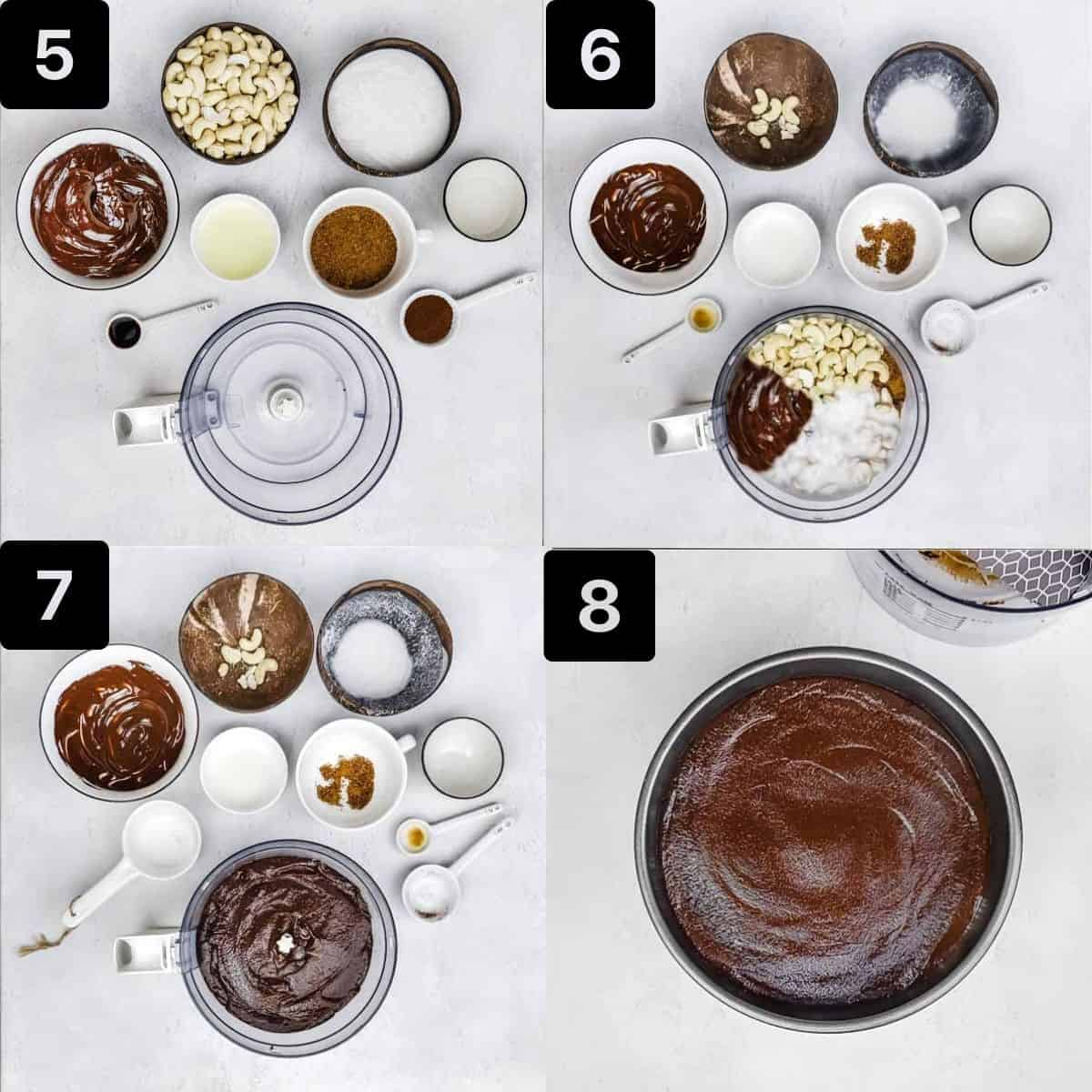 Four process shots to make the chocolate cheesecake filling.