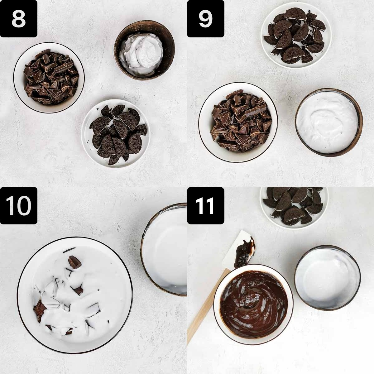 Four process shots to make the chocolate cheesecake toppings.