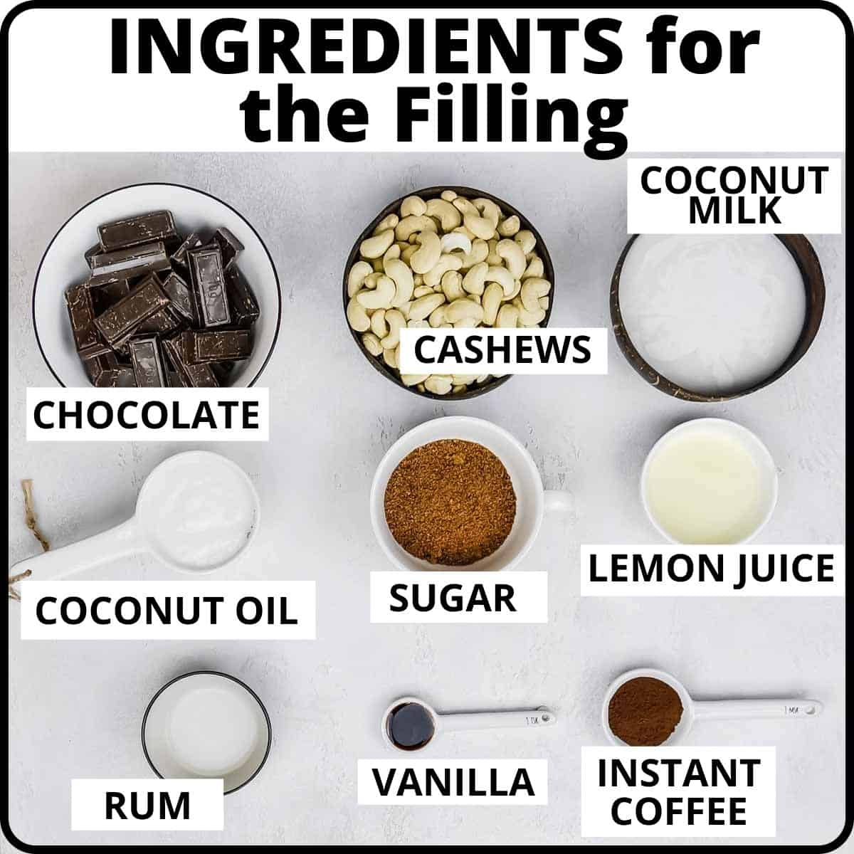 Ingredients for the filling of the chocolate cheesecake placed on a white surface.