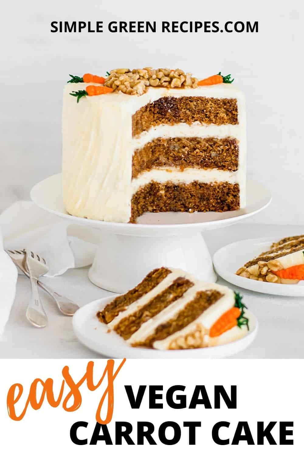 cut carrot cake on a white stand next to two slices of cake on two white plates