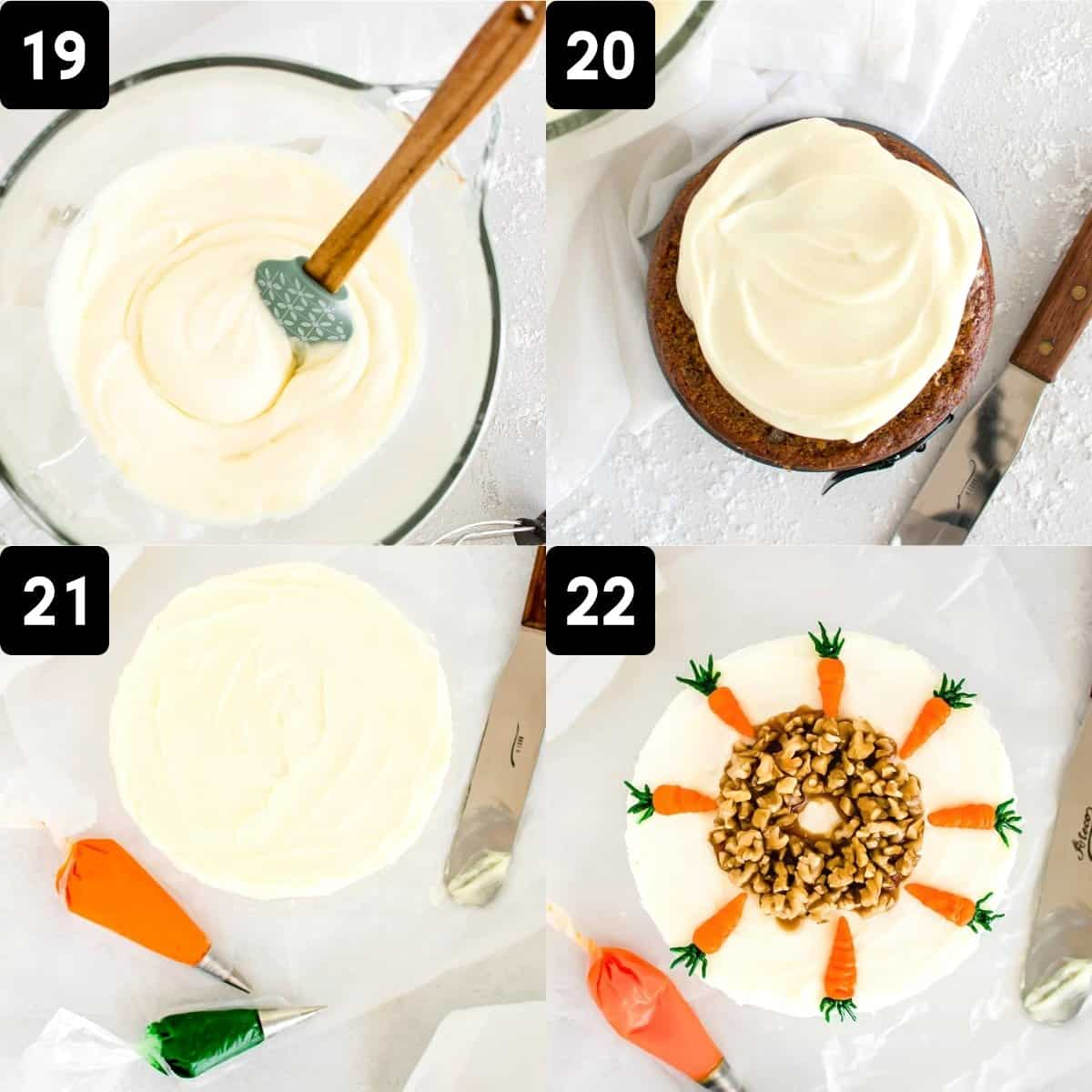 Step-by-step directions to frost and decorate the carrot cake