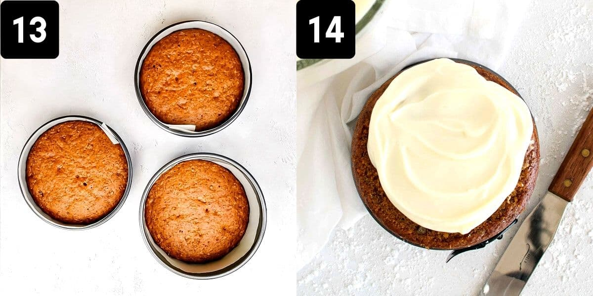 Step-by-step directions to frost the carrot cake