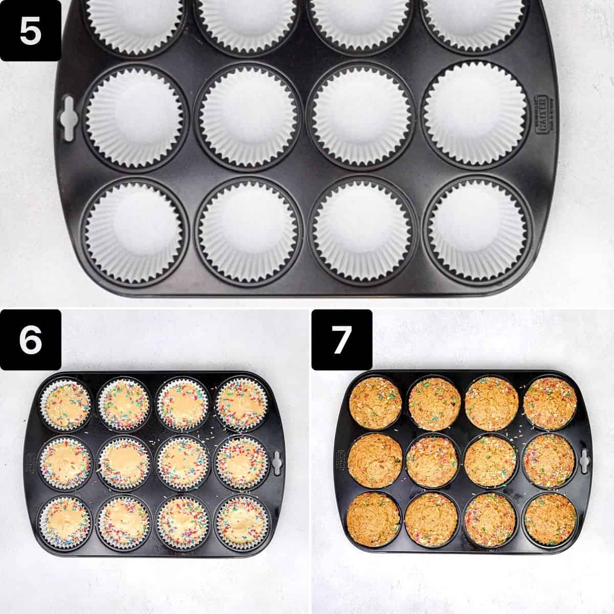 muffin pan lined with white muffin liners, liners filled with batter, muffin pan with baked muffins