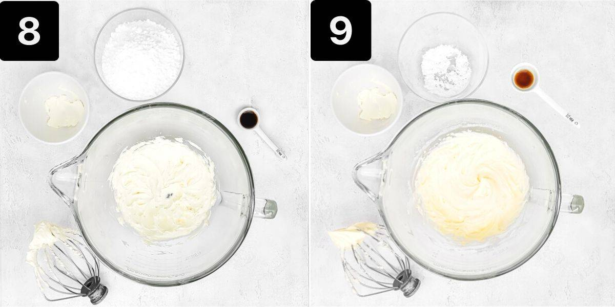 bowl one with softened butter, bowl two with the prepared frosting