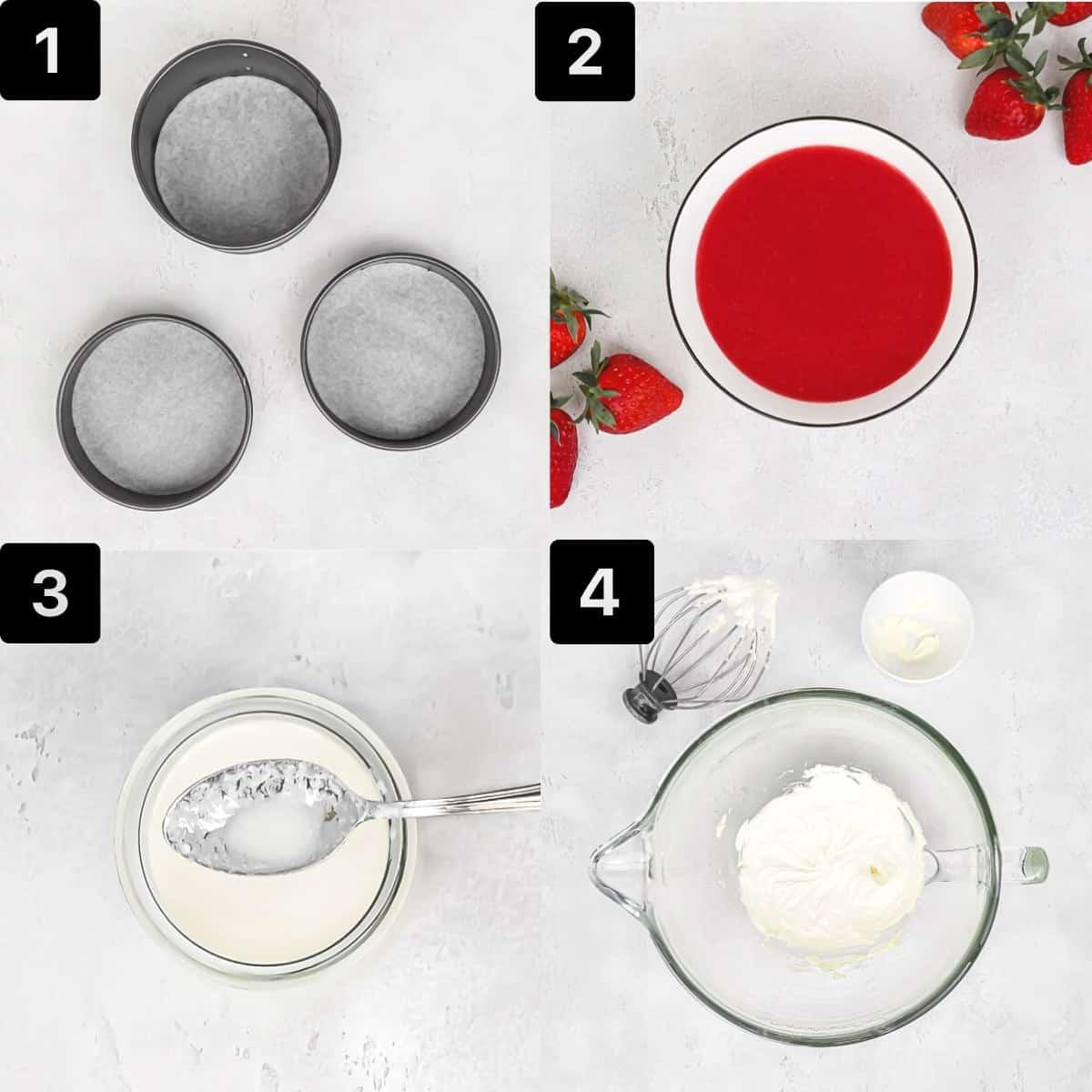 Cake Process 1: line pans, puree strawberries, make buttermilk, cream butter.