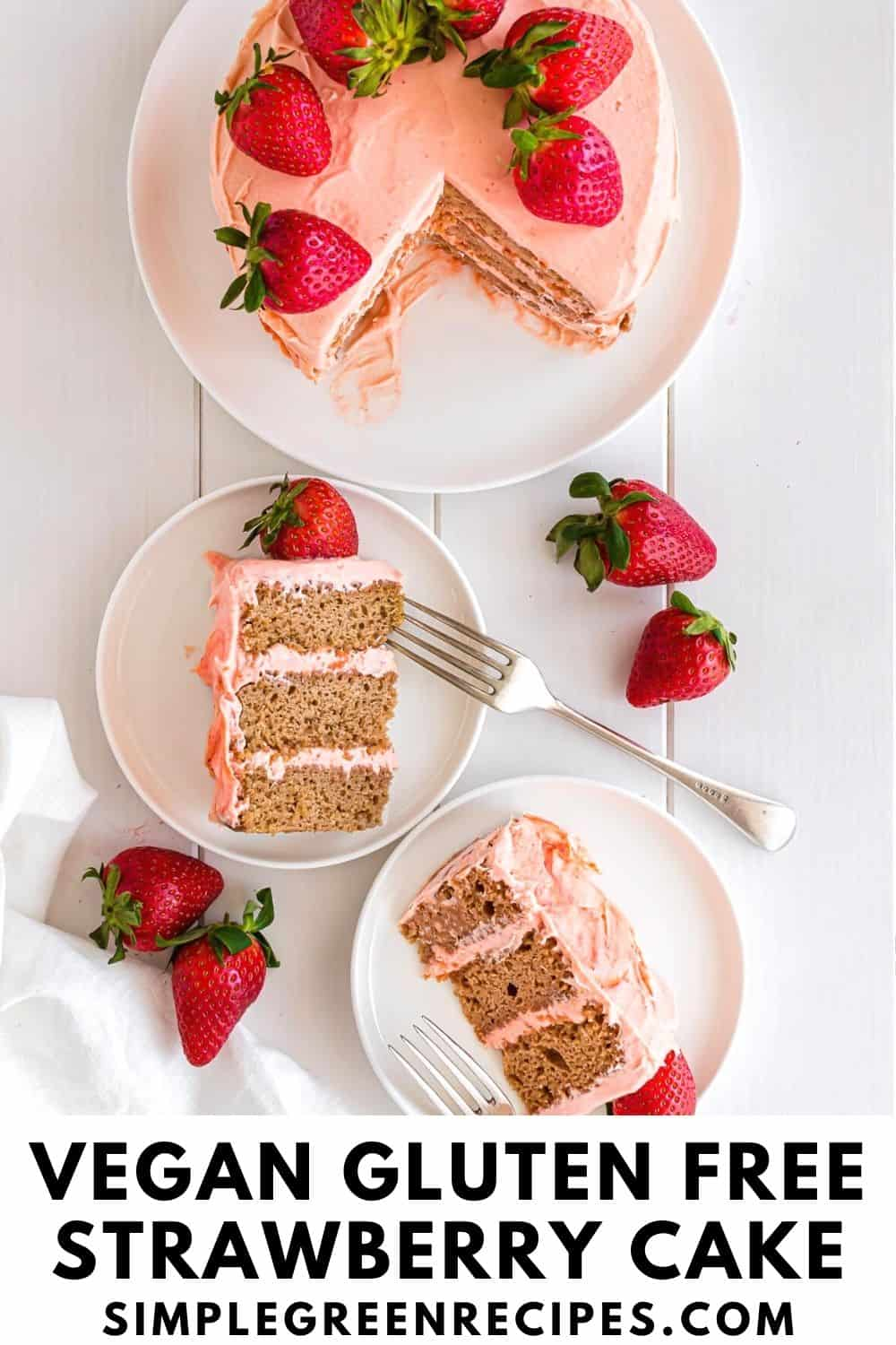 Cut Strawberry cake on a white plate, next to two slices cake on white plates.