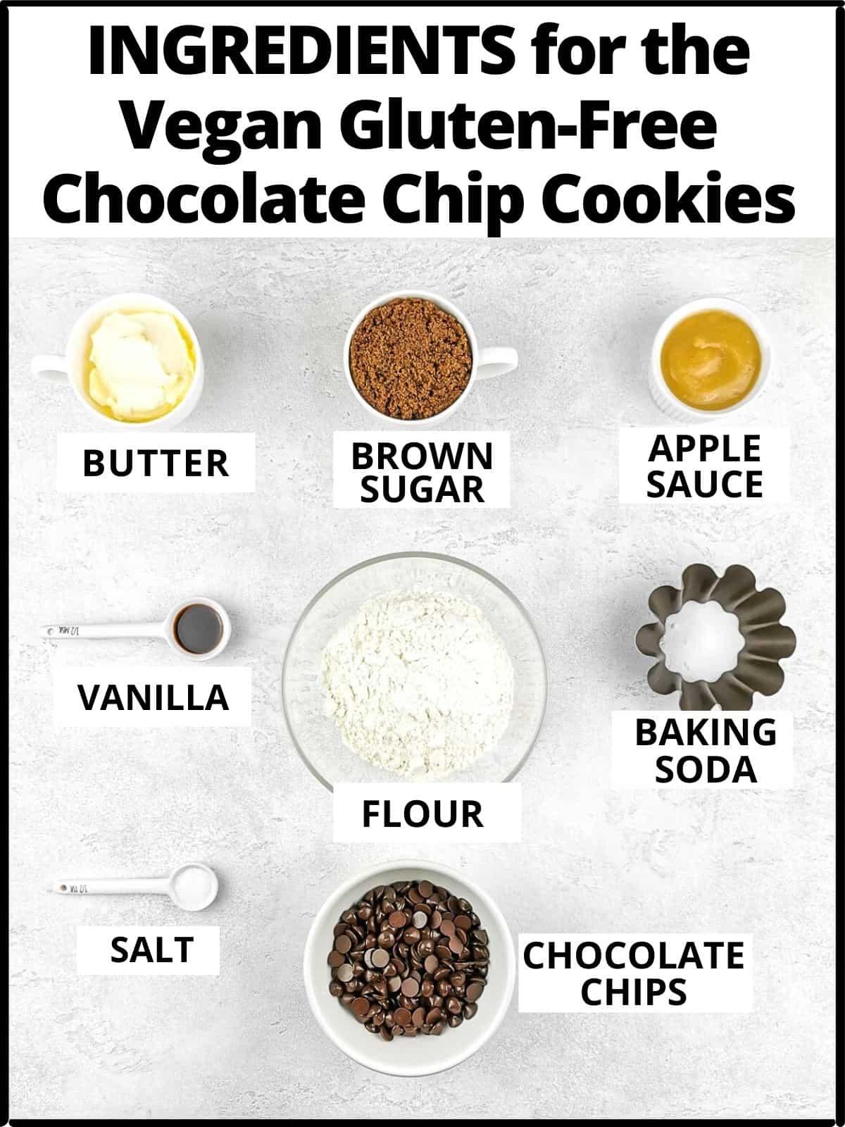 Ingredients for the cookies: butter, sugar, apple sauce, vanilla, flour, baking powder, salt, chocolate chips