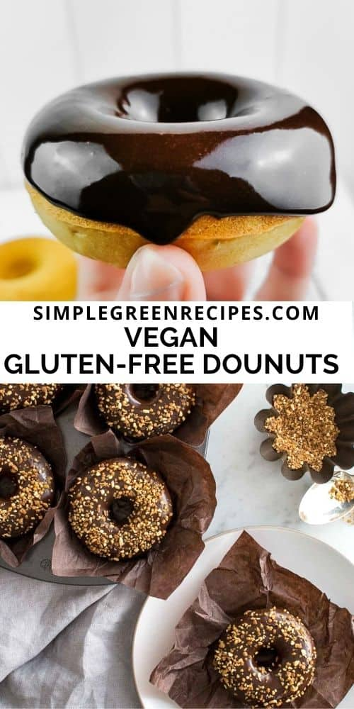 donuts frosted with glaze chocolate and crunchy almonds, on a brown muffin paper