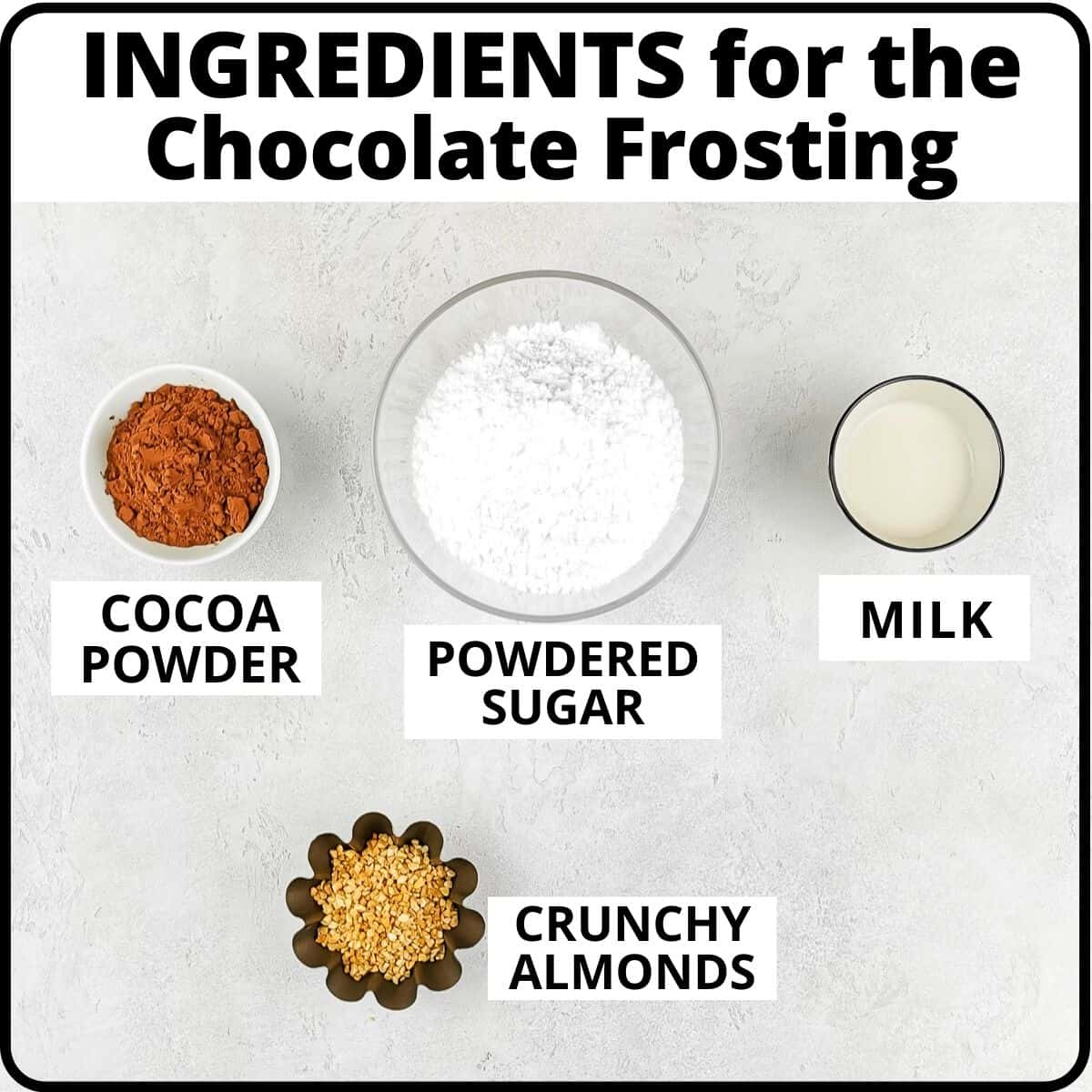 ingredients for the donuts' chocolate frosting