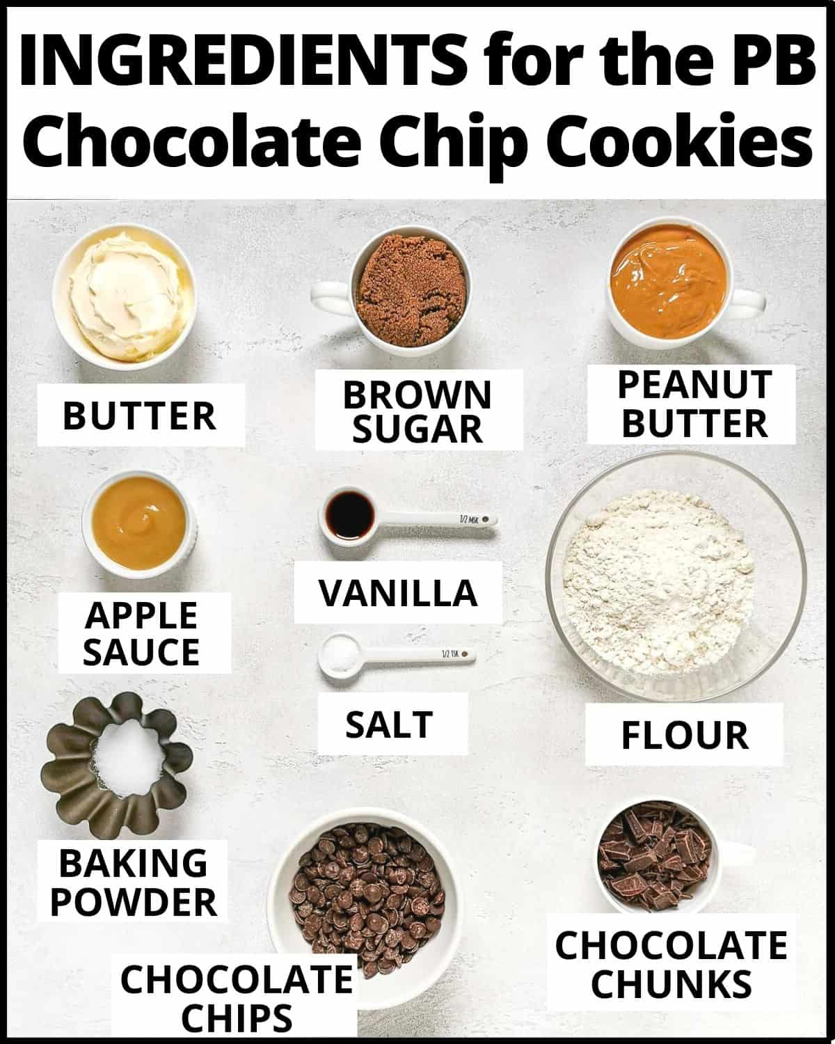Ingredients for the peanut butter chocolate chip cookies