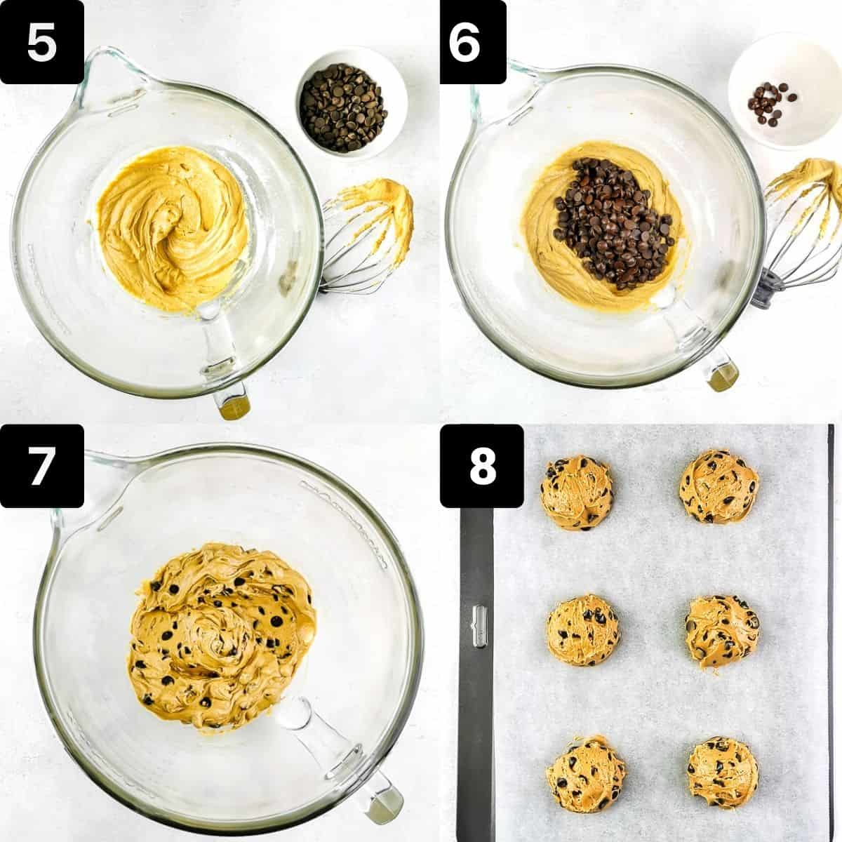Step by step1 to make the chocolate chip cookies: mix wet and dry ingredients, add choco chips and scoop cookie dough onto a baking sheet.
