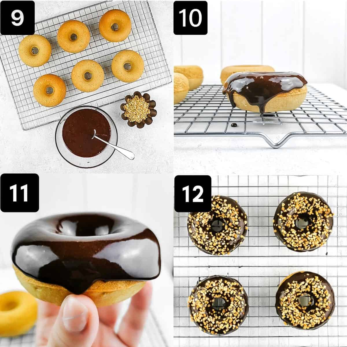 frosting the donuts with chocolate glaze and crunchy almonds
