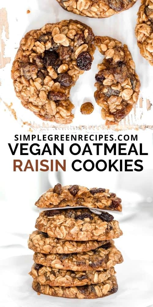 split vegan oatmeal cookie on a white board, surrounded by more cookies, and a stack of oatmeal cookies in the picture above