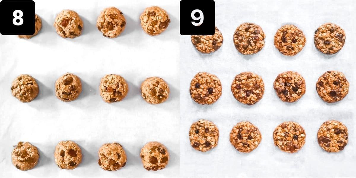 On the left, cookie dough balls on a parchment paper. On the right, the baked cookies on a parchment paper
