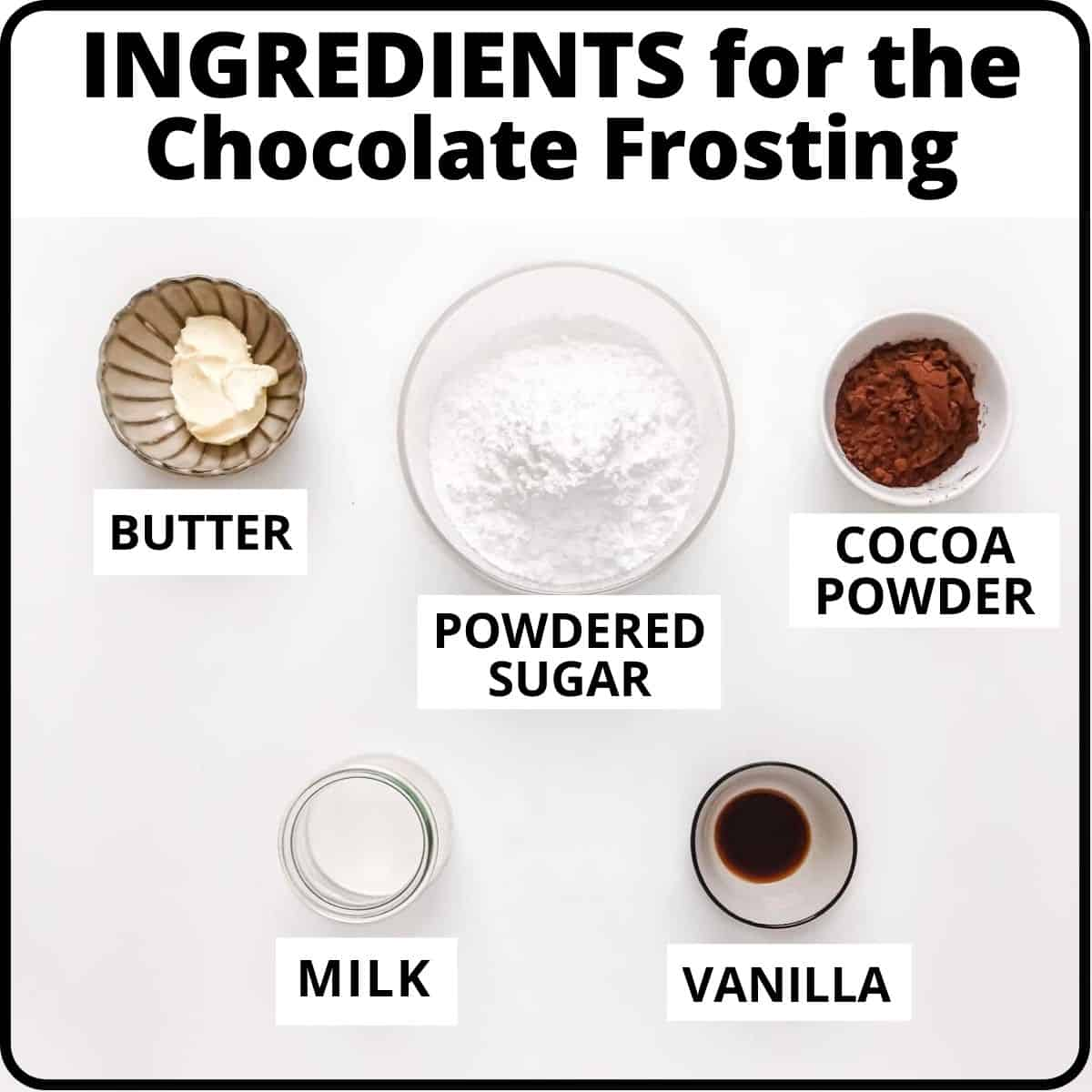 Ingredients for the frosting: butter, sugar, cocoa, milk, vanilla.