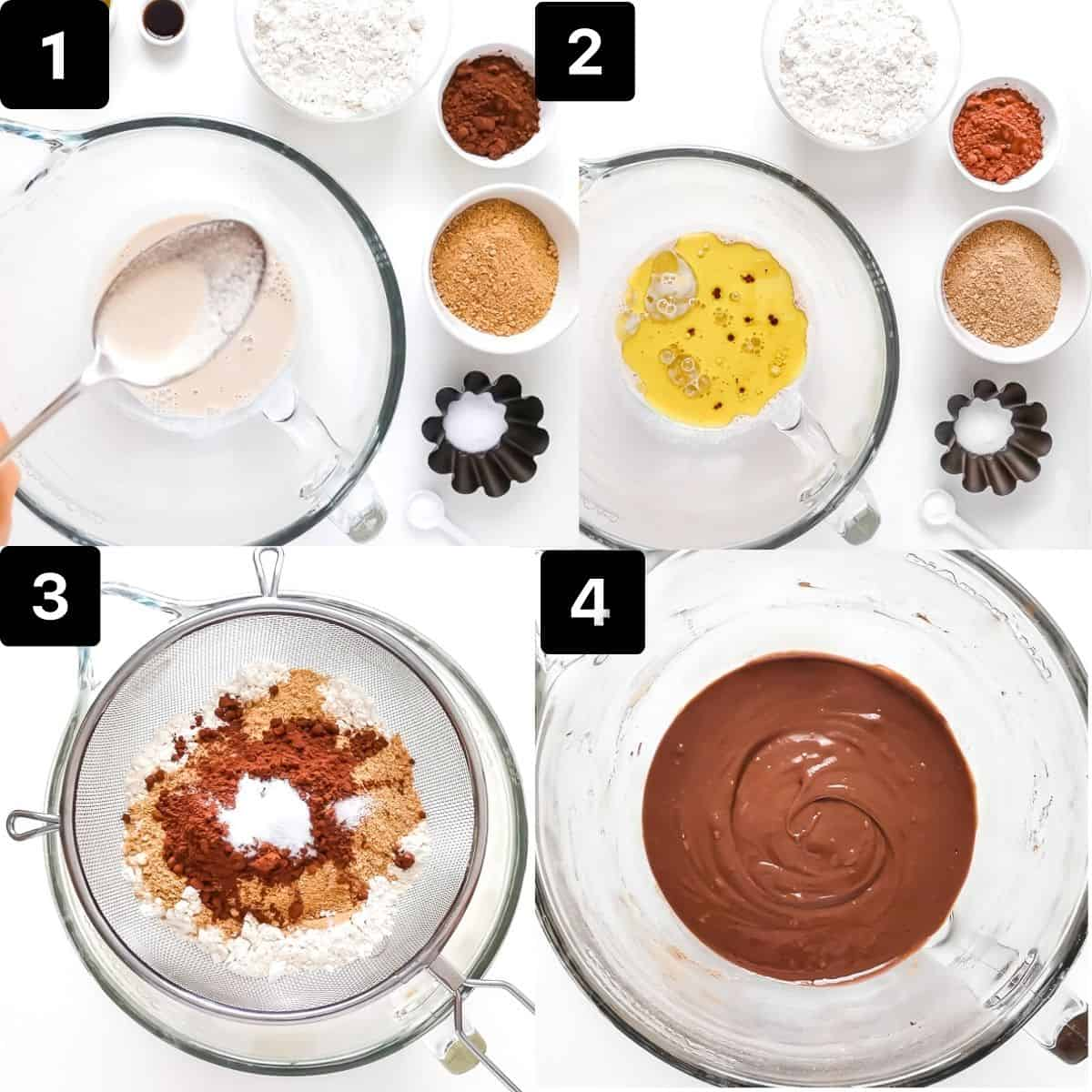 Step by step to make cupcakes: mixing milk and vinegar, add oil and vanilla, sifting in dry ingredients and mixing.